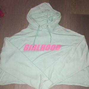 H&M Cropped Mint Girl Hoodie